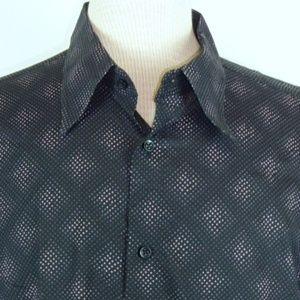 BEN SHERMAN BLACK PURPLE GEOMETRIC SHIRT 4 XL